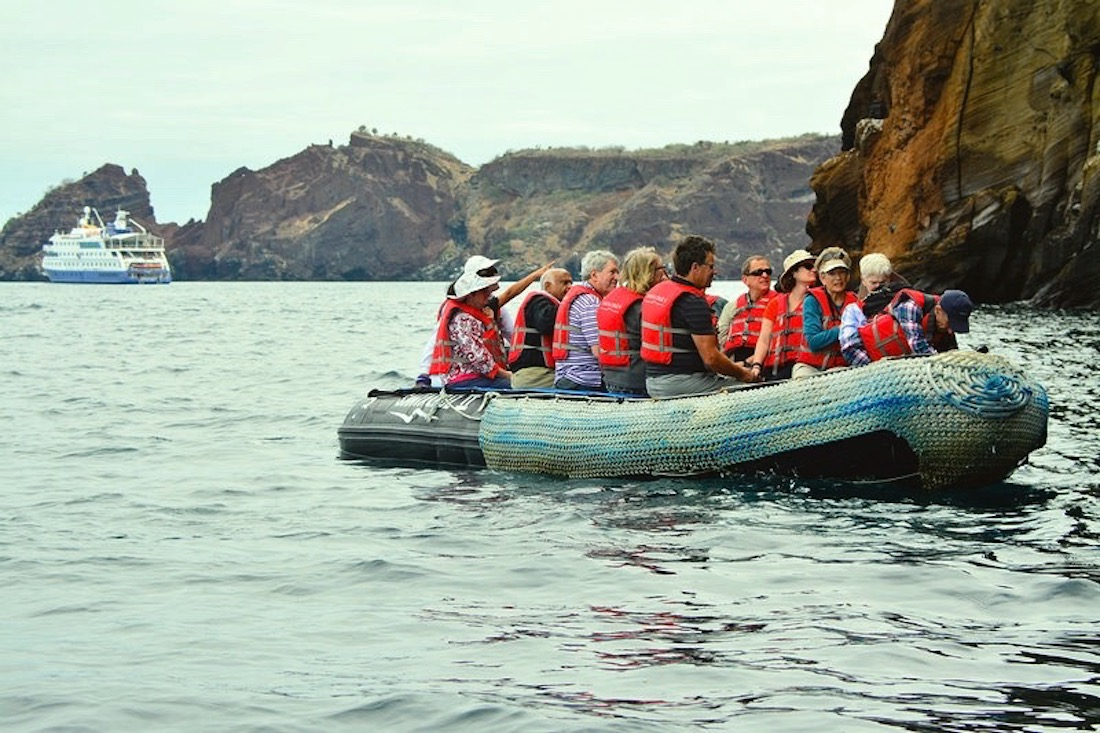 Zodiac ride, seeing Blue Footed Booby, Rabida Island
